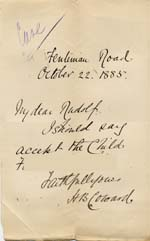 Image of Case 542 6. Letter from H.B. Coward accepting F. for the Home  22 October 1885  page 1