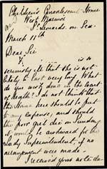 Image of Case 542 10. Letter from the Convalescent Home about the severity of F's illness  11 March 1892  page 1