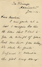 Image of Case 866 8. Letter from Mrs Newman about the arrangements for accepting C.  10 January 1888  page 1