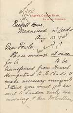 Image of Case 941 7. Letter from Revd Edward Rudolf requesting that A. be sent to St Chad's, Far Headingley  12 August [1890]  page 1