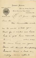Image of Case 941 13. Letter from the Female Mission, Greenwich giving details of A's plight  8 June 1894  page 1