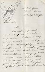 Image of Case 941 21. Letter from Lincoln's Inn about M's theft  3 September 1895  page 1