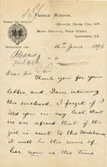 Image of Case 942 14. Letter from the Female Mission requesting help for A.  16 June 1894  page 1