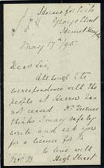 Image of Case 942 17. Letter about M. taking another place as a servant with reference to problems arising while she was at Harrow  17 May 1895  page 1