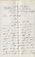 Image of Case 942 20. Letter from the Waifs and Strays' Society Solicitor [?] at Lincoln's Inn concerning M's alleged theft from her employers in Harrow  28 August 1895  page 1