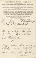 Image of Case 1047 9. Letter from Miss Gittens, Industrial Home, Fareham  1 March 1890  page 1