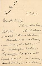Image of Case 1294 7. Letter from Mrs Bere to Revd Edward Rudolf  12 November 1895  page 1