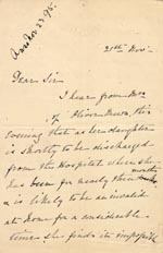 Image of Case 1294 9. Letter from Mrs Bere to Revd Edward Rudolf  21 November 1895  page 1