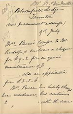 Image of Case 1294 28. Letter from Mrs Bere to Revd Edward Rudolf  9 July 1900  page 1