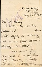 Image of Case 1372 6. Letter from Knoyle Cottage 21 May 1888  page 1