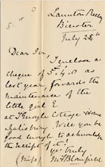 Image of Case 1372 10. Letter from Launton Rectory 25 July 1888  page 1