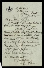 Image of Case 1399 5. Letter to Revd Edward Rudolf from W.C. Pan 15 June 1888  page 1