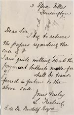 Image of Case 1399 7. Letter to Revd Edward Rudolf from L. Freiling c. 25 April 1889  page 1