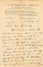 Image of Case 1399 11. Letter from the Working Boys' Ladder 11 May 1893  page 1