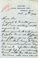 Image of Case 2434 10. Letter from Mrs Cameron 4 October 1904  page 1