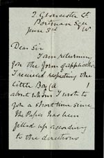 Image of Case 2835 3. Letter from Lady Gale 3 June 1891  page 1