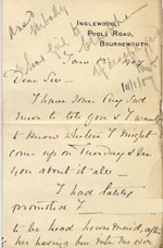 Image of Case 3271 8. Letter from F's employer, Miss G. Scott to Edward Rudolf  13 January 1897  page 1