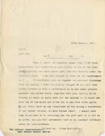 Image of Case 3271 37. Copy of letter from Edward Rudolf to West Sussex County Asylum  23 January 1911  page 1