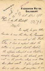 Image of Case 3271 40. Letter from Fisherton House Asylum, Salisbury to Edward Rudolf  16 April 1911  page 1