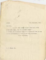Image of Case 3271 42. Copy of letter from Edward Rudolf to Fisherton House Asylum  19 September 1911  page 1