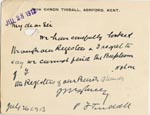 Image of Case 3271 52. Letter from Revd Tindall to Edward Rudolf concerning F's baptism  26 July 1913  page 1