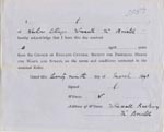 Image of Case 3583 4. Form of receipt by the Foster Parent 29 March 1893  page 1