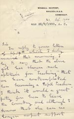 Image of Case 3583 7. Letter from Henry Vaughan to Edward Rudolf  21 September 1900  page 1
