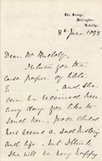 Image of Case 3737 5. Letter from Mrs Fenton The Grange, Hillingdon 8 June 1893  page 1