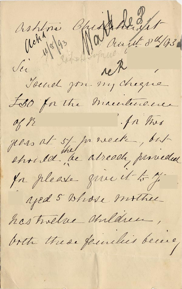 Image of Case 3821 4. Letter from Miss S. Freeby 8 August 1893  page 1