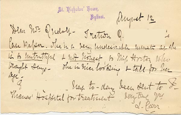 Image of Case 3821 5. Letter from Byfleet Home 12 August 1893  page 1