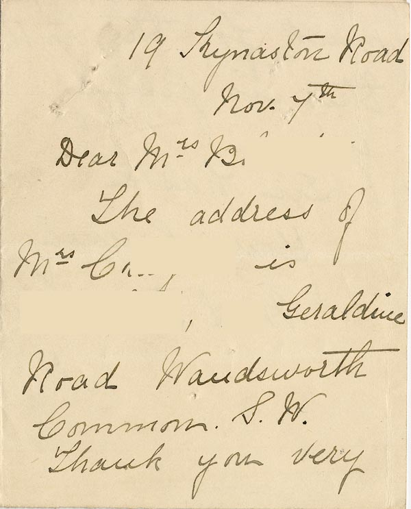 Image of Case 3821 8. Letter to Mrs Blatch  7 November 1899  page 1