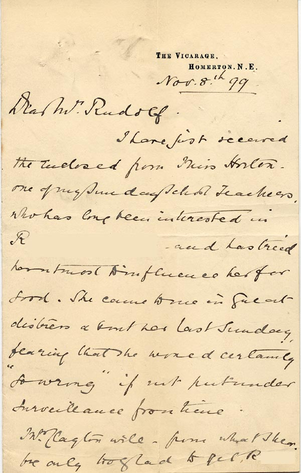 Image of Case 3821 9. Letter from Mrs Blatch  8 November 1899  page 1