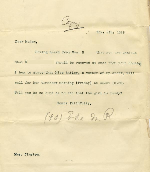 Image of Case 3821 10. Copy of letter to Mrs C. 9 November 1899  page 1