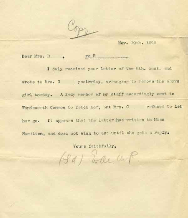 Image of Case 3821 12. Copy of letter to Mrs Blatch 10 November 1899  page 1