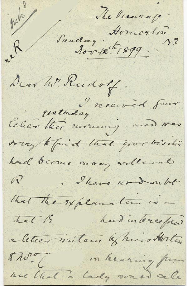 Image of Case 3821 13. Letter from Mrs Blatch 12 November 1899  page 1