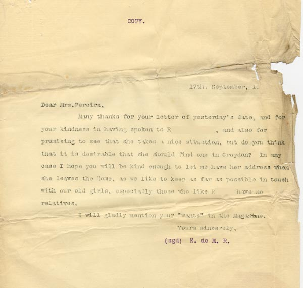 Image of Case 3821 16. Copy of letter to Mrs Pereira from Edward Rudolf 17 September 1901  page 1