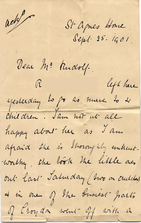 Image of Case 3821 18. Letter from the St Agnes Home 25 September 1901  page 1