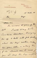 Image of Case 4171 24. Letter from Mrs B. asking if the boys could remain in the Home a little longer  15 March 1901  page 1