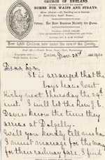 Image of Case 4172 17. Letter from Mrs H. giving the date the boys are to leave their foster mother and travel to the Home  23 November 1900  page 1