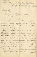 Image of Case 4284 2. Letter from George Norris  16 April 1894  page 1