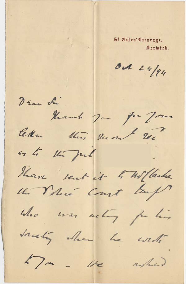 Image of Case 4488 4. Letter from St. Giles' Vicarage 24 October 1894  page 1