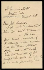 Image of Case 4751 3. Letter from Mrs Stevenson to Edward Rudolf  30 March 1899  page 1