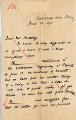 Image of Case 4770 15. Letter to Mr Rudolf from Mary Butler 26 June 1896  page 1