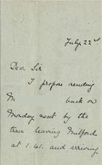 Image of Case 5008 4. Letter from Miss Hall Hall 22 July c. 1895  page 1