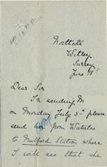 Image of Case 5008 12. Letter from Miss Hall Hall 18 June 1897  page 1