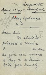 Image of Case 5959 7. Letter from the Atlay Orphanage agreeing to take F.  23 April 1897  page 1