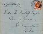 Image of Case 5959 8. Card confirming F's arrival in Hereford  23 May 1897  page 1