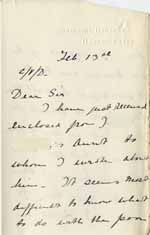 Image of Case 6001 26. Letter from Miss Williams to Revd Edward Rudolf enclosing the letter from J's aunt  13 February 1908  page 1