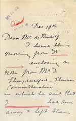 Image of Case 6001 40. Letter from Miss Williams informing Revd Edward Rudolf that J. has run away from the farm  19 December 1910  page 1