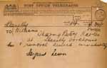 Image of Case 6001 41. Telegram from the Police giving information that J. is at Llanelli Workhouse  21 December 1910  page 1